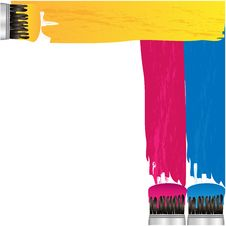 Free Coloured Stripes Of Paint And Brush Stock Image - 31001201