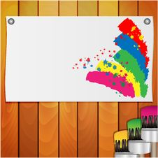 Free Sheet Of Paper With The Spots Of Paint And Brush Stock Photos - 31001223