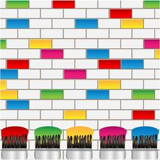 Free White And Coloured Bricks And Brushes Stock Images - 31001234