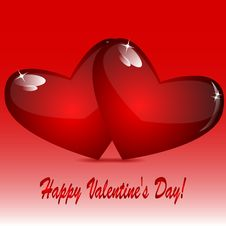 Free Two Glass Hearts Of Red Color Stock Photography - 31001282