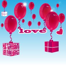 Free Balloons And Gift Boxes Stock Photography - 31001382