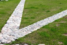Decorative Stone Walkway In The Park Stock Photos