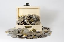 Free Box With Coins Stock Image - 31010691