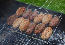 Kebab On The Grill Grid Stock Photo