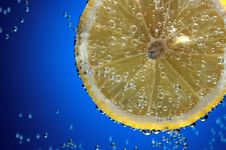 Slice Of Fresh Lemon In Water With Air Bubbles Stock Images