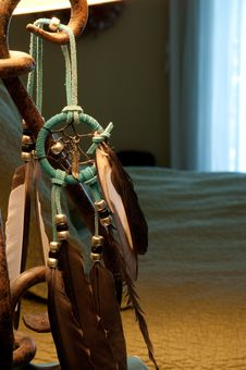 Dreamcatcher Hanging By Side Of Bed Stock Image