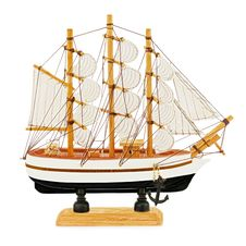 Old Sailboat Model Isolated On White Background. Stock Image