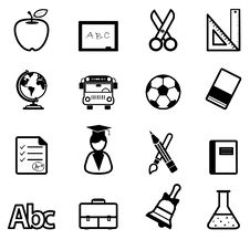 Free Education Icons Black Stock Photography - 31024462