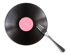 Free Record Disc And Fork Isolated Royalty Free Stock Photography - 31029817
