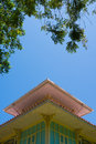 Free House Wooden Lath Roof With Clear Blue Sky Royalty Free Stock Photos - 31031368