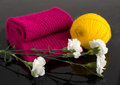 Free Crimson Scarf And A Skein Of Yarn Yolk Royalty Free Stock Image - 31035276