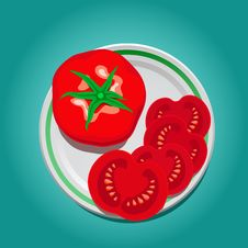 Free Tomato On A Plate With Slices Stock Images - 31032744