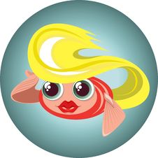 Cute Blonde Little Fish In A Circle Royalty Free Stock Images