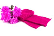 Free Crimson Scarf And A Bouquet Of Flowers Royalty Free Stock Images - 31035149