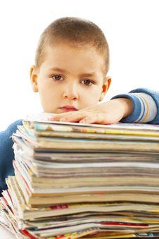 Boy Carrying Books Stock Photos