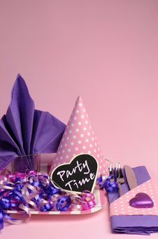 Free Pink And Purple Theme Party Table Setting Decorations - Vertical. Stock Photo - 31036550