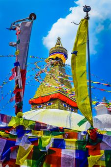 Bouddhanath Stupa And Buddhist Flags Royalty Free Stock Photography
