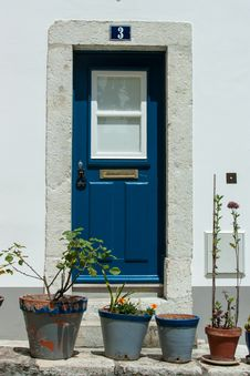 Free Entrance Door With Flower Pots In Front Of It Stock Photos - 31036823
