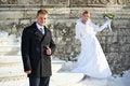 Free Happy Bride And Groom On Wedding Walk Royalty Free Stock Photo - 31040155