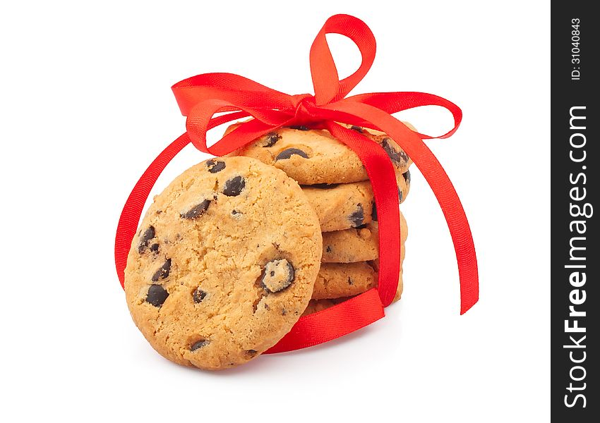 Stack of cookies & ribbon
