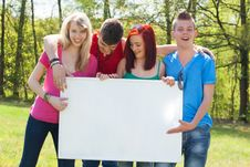 Youth With An Empy Billboard Stock Image
