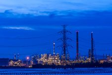 Oil Refinery In A Night Time. Royalty Free Stock Photos