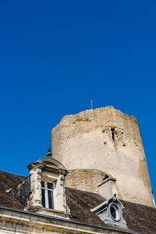 Mansard Roof And Tower Of The Medieval Castle Stock Photo