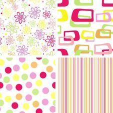 Free Set Of Summer Seamless Pattern Royalty Free Stock Image - 31063536