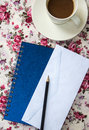 Free Blank Envelopes On The Table With Pencil And Coffee Cup And Blue Stock Photos - 31073833