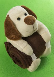 Free Dog Doll Hug Brown Blanket In The Green Background Royalty Free Stock Photography - 31072987