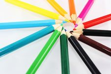 Free Spin Of Different Colored Pencils Stock Photography - 31079512