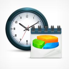 Free Round Clock With Chart Royalty Free Stock Images - 31085349