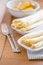 Free Prepared Raw Peeled White Asparagus On Two White Plate Stock Photo - 31085010