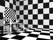 Checkered Modern Chair Stock Image