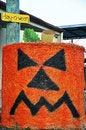 Free Grumpy Pumpkin Face Halloween Round Hay Bale Stock Photos - 31109213