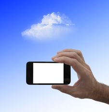 Free Blank Screen Smartphone In Male Hand, And Cloud Royalty Free Stock Photos - 31100238