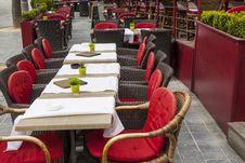 Outdoor Restaurant In Old Town Of Brugge - Belgium. Stock Photos