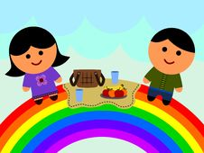 Free Rainbow Picnic Royalty Free Stock Image - 31105386