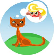 Free Cartoon Cat And Fish Stock Image - 31111551