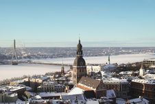 Free Old Riga In Winter From Above Stock Photos - 31113543