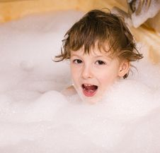 Free Cute Little Boy In Bathroom With Foam Royalty Free Stock Photo - 31118215