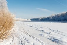 Free Dvina Rver Under Ice. Landscape Near House Of Painter Repin. Royalty Free Stock Images - 31118329