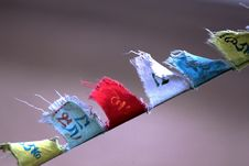 Buddhist Prayer Flags Flying With Wind Stock Photos
