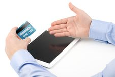 Man S Hand Holding A Credit Card Over A Tablet Computer And The Stock Images