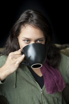 Free Young Woman With Beautiful Green Eyes Drinking Coffee Stock Images - 31136024