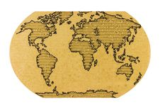 World Map On Corrugated Cardboard Royalty Free Stock Photos
