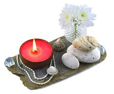 Free Feng Shui Composition With Red Candle Royalty Free Stock Photos - 31158208