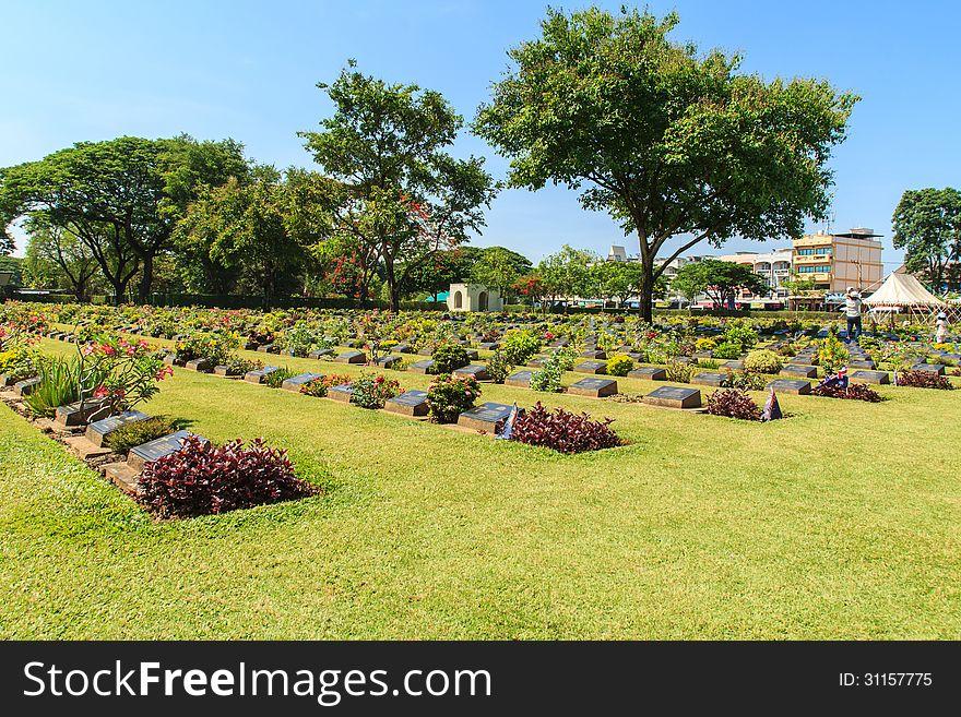 Historic gravestone at world war II Cemetery, Kanchanaburi, Thailand.