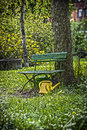 Free Garden Bench With Yellow Ewer Royalty Free Stock Image - 31166936