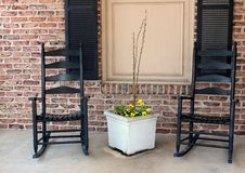 Free Two Black Rocking Chairs On A Quiet Porch Stock Image - 31163181
